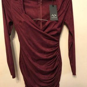 Suede Wrap Bodycon Plum Dress